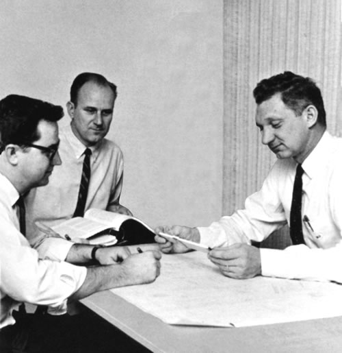 Alex McLennan, Al Whitney, and owner Werner Jessen, in our Silverton Office. Alex and Al gained part ownership in 1978.